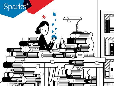 Sparks illustrations marketing identity logo branding cartoon character illustration vector