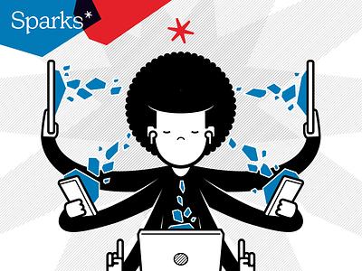 Sparks illustrations marketing identity branding logo cartoon character illustration vector