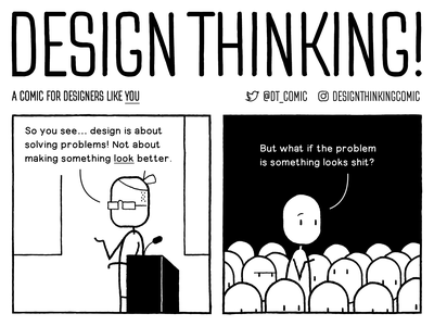 DESIGN THINKING! COMIC funny humour comics comic ux ui design cartoon vector illustration