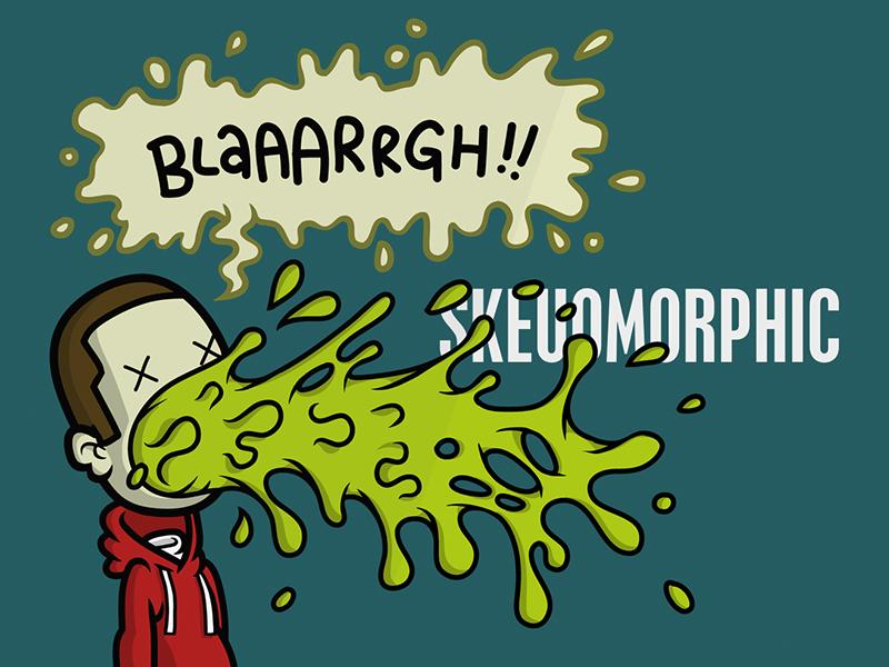 Blargh! skeuomorphism cartoon illustration vector