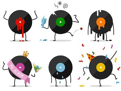 Vinylmoji wallerbox emoji set emoji vinyl record vinyl cartoon character illustration vector