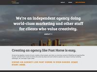 Fast Horse Website, Homepage