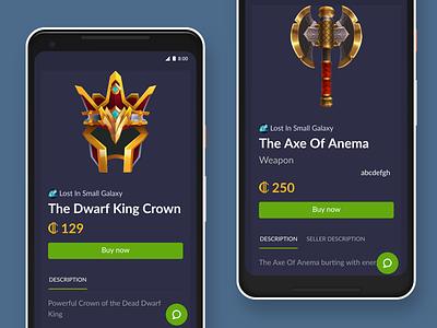 Switex Mobile game gaming switex ux ui purchase details item . webdesign responsive