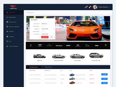 LuxuryCarz Dashboard cars. luxury design. web ux. ui dashboard.