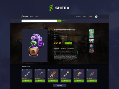 Game Publisher Section switex design games items virtual ux ui . webdesign