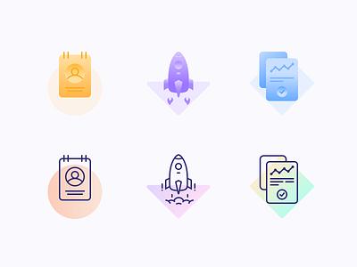 Icons mark checkbox gradient fill outline figure graphic user cloud fire paper folder rocket profile branding ui logo icon illustration