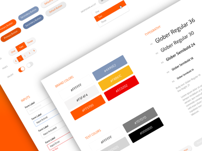 UI Style Guideline page success hover active error label input color switcher typography dropdown button