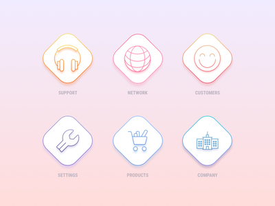 Icons icons design building headphones company products settings customers network support