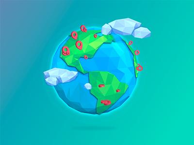 Planet cdn lowpoly land sea cloud checkmark map earth