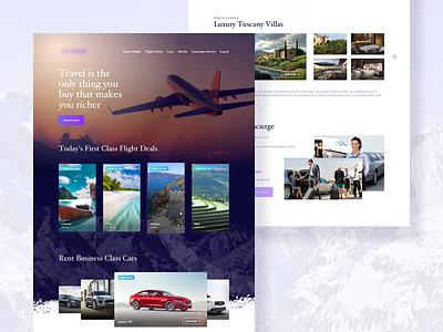 Travel service button menu book rent card mountain hotel plane flight