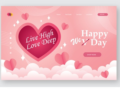 Happy Valentine Day Website Layout