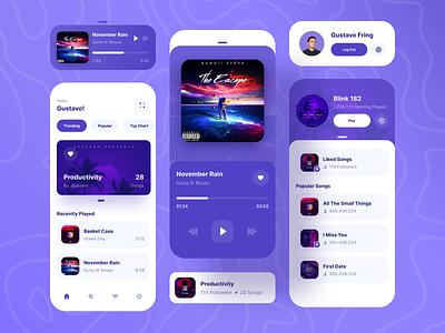 Music Player App preview icon component playlist podcast music purple hierarchy navbar dashboard mobile ios uiuxdesign app clean uxdesign uidesign ui uiux design