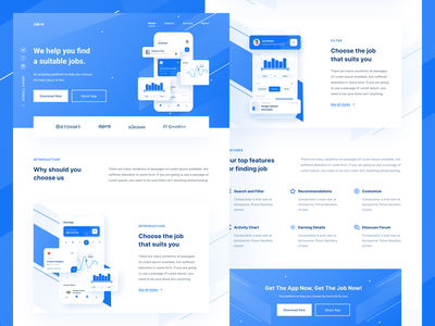 Job Finder - Landing Page ios gradient icon illustration landing page landingpage webdesign website web blue mobile dashboard uiuxdesign app clean uxdesign uidesign ui uiux design