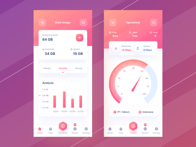 Data Usage App navigation bar navbar speed gradient wifi data graphic chart dashboard mobile ios uiuxdesign app clean uxdesign uidesign ui uiux design