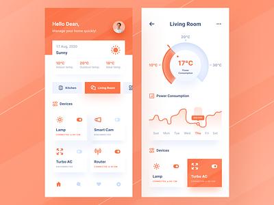 Smart Home App weather icon dashboard meter temperature gradient orange button navbar chart mobile ios uiuxdesign app clean uxdesign uidesign ui uiux design