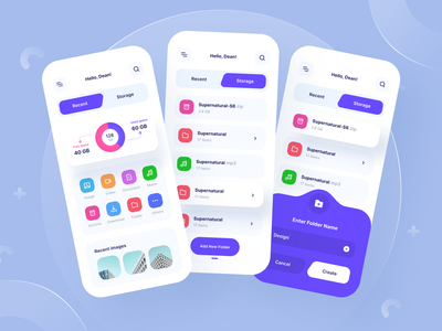 File Manager App colorful folder share purple shadow manager icon file dashboard mobile ios uiuxdesign app clean uxdesign uidesign ui uiux design