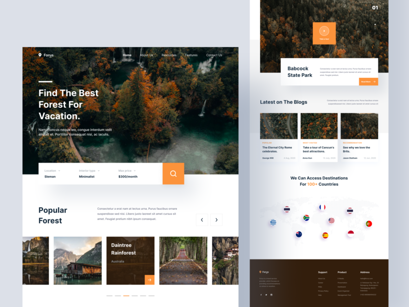 Forus - Landing Page typography blog layout holiday vacation forest webdesign website web mobile ios uiuxdesign app clean uxdesign uidesign ui uiux design landingpage