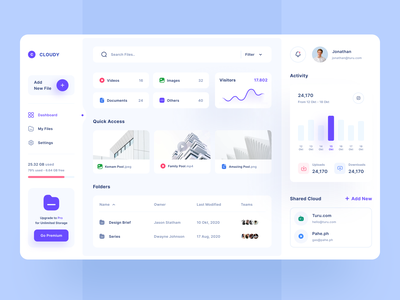 Dashboard - Cloud Storage minimalist statistics file manager storage cloud website web dashboard design dashboard mobile ios uiuxdesign app clean uxdesign uidesign ui uiux design