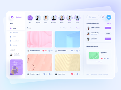 Cofeed - Social Media Dashboard dribbble instagram platform gradient glass media socialmedia social uiuxdesign app clean uxdesign uidesign ui uiux design website web dashboard