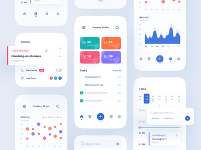 To do list App kit calendar schedule statistic gradient category manage task chart dashboard mobile ios uiuxdesign app clean uxdesign uidesign ui uiux design