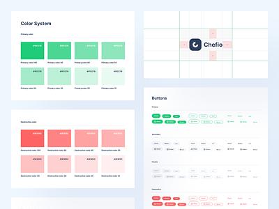 [Freebies] Chefio - Design System App UI Kit behance template branding color button guideline designsystem grid logo brand mobile ios uiuxdesign app clean uxdesign uidesign ui uiux design