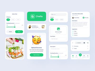 [Freebies] Chefio - UI Component drink ux app clean uxdesign uidesign ui uiux design navbar icon search setting food recipe logo component kit uikit behance