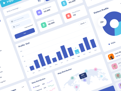 Social Media Management - Component dashboard mobile app design app clean uxdesign uidesign ui uiux design network map graph chart component uikit kit media social media social