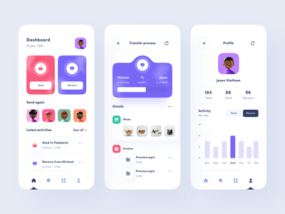 Transfer File App ux dashboard ios mobile uiuxdesign app clean uxdesign uidesign ui uiux design profile receive send progress process file share transfer