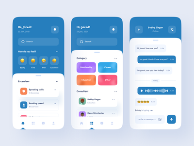 Mental Health App ios app mobile ux health app clean uxdesign uidesign ui uiux design awareness anxiety consultant consulting doctor medical care health mental