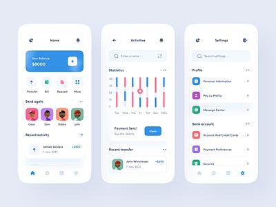 Finance App statistics chart mobile app clean uxdesign uidesign ui uiux design finance app account financial banking fintech invest wallet money bank finance
