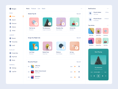 Rungon - Music Streaming Dashboard web ux uidesign ui uiux design song play playlist album concert live radio apple netflix joox spotify streaming podcast music