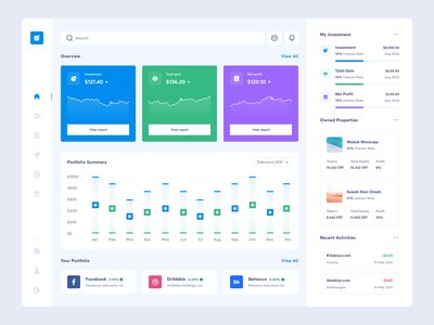 Investment Dashboard ui  ux uiux design dashboard app webapp web money credit investment card deposit loan bank trading trade investor investing stock