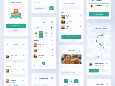 Delivery App mobile ux app ui uiux design visa bank money payment service menu drink map recipe culinary cook food order delivery