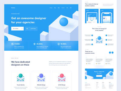 Digital Agency Website Landing Page Design design portfolio digital agency landing page design website design uxdesign uidesign uiux ux ui illustration 3d isometric landing page landing webdesign website web agency digital