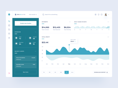 Invoicing Software Dashboard clients uxdesign clean uidesign design uiux payment invoicing statistics chart money earning report invoice software app webapp web dashboard