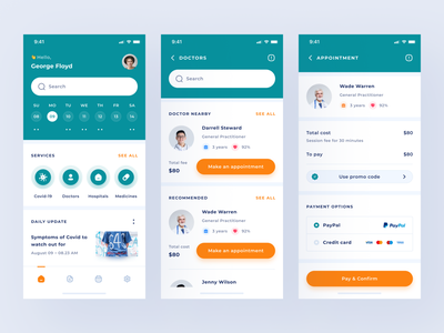 Doctor Appointment App specialist payment appointment nurse ios care hospital health vaccine covid medical medicine doctor clean uxdesign uidesign app ui design uiux