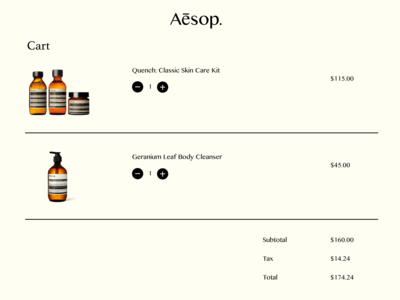 #DailyUI #UI #058 #shoppingcart #aēsop