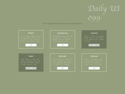 #DailyUI #UI #099 #catergories #interiordesign