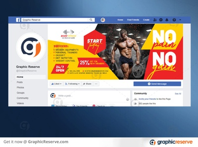 Fitness Facebook Cover Template Preview Image 9