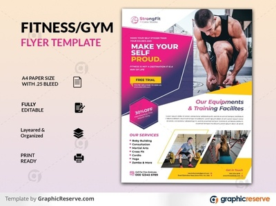 GYM/Fitness Flyer health flyer health sports flyer sports yoga flyer yoga boxing flyer body building gym flyer fitness flyer gym fitness flyer