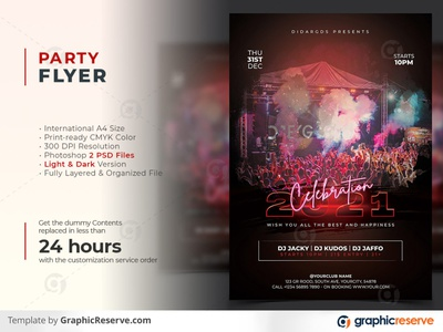 New Year Party Celebration 2021 Flyer Template poster party poster party flyer party events new year party poster template new year party new year celebration new year 2021 flyer celebration party