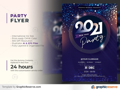 New Year 2021 Party Celebration Flyer Template poster party poster party flyer party events new year party poster template new year party new year celebration new year 2021 flyer celebration party