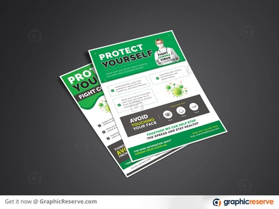 Protect Yourself (Fight Covid-19) Flyer / Poster Template flyer design flyer template corona flyer protect yourself fight covid-19 covid-19