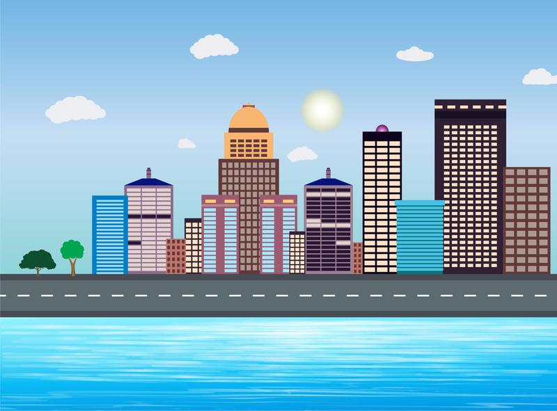 City Illustration & River illustration art illustraion river illustration city illustration