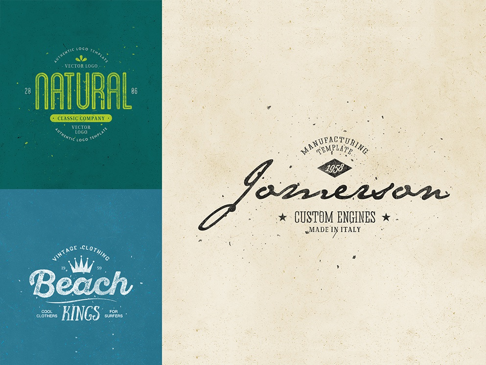Retro Logo Templates V.07 natural beach summer web vintage vector typography type retro psd photoshop minimal logo lettering illustration identity branding best badges badge