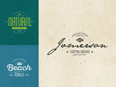 Retro Logo Templates V.07 natural beach summer web vintage vector typography type retro psd photoshop minimal logo lettering illustration identity branding best badges badge