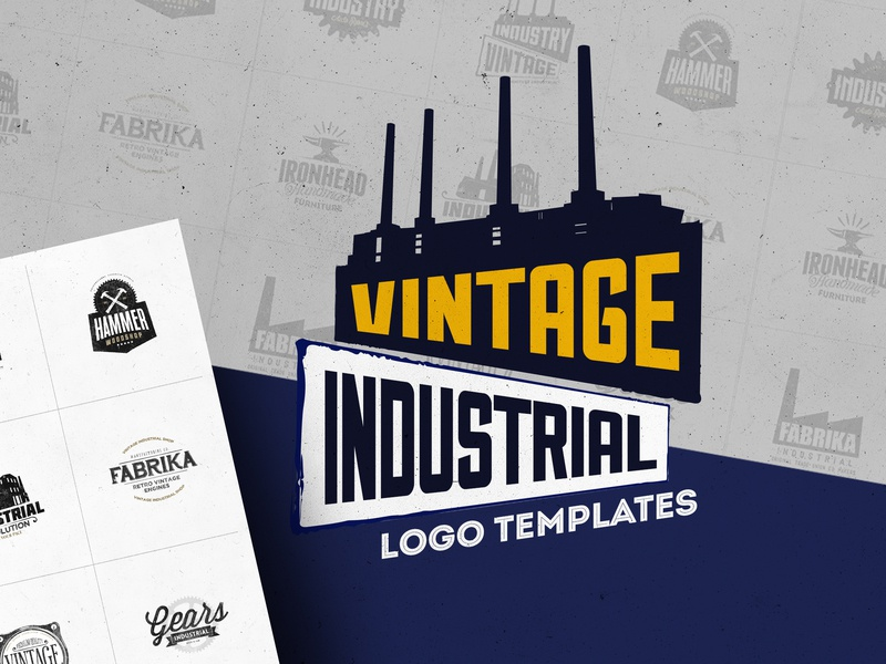 Industrial Logo Templates template startup blog event apparel promotion industrial industry photoshop logo identity vintage branding