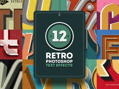 Retro Text Effects illustration best branding psd typography retro lettering badge logo text long shadow 3d design web 60s 50s effects photoshop layer style vintage