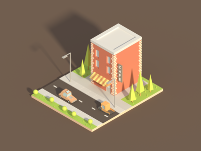 isometric cafe