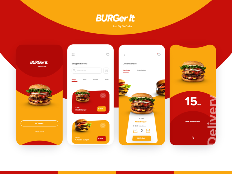 Burger it app art flat visual identity monogram minimal logos brand identity branding dashboard design card design user interface burger food app application app design graphic design ux design uidesign